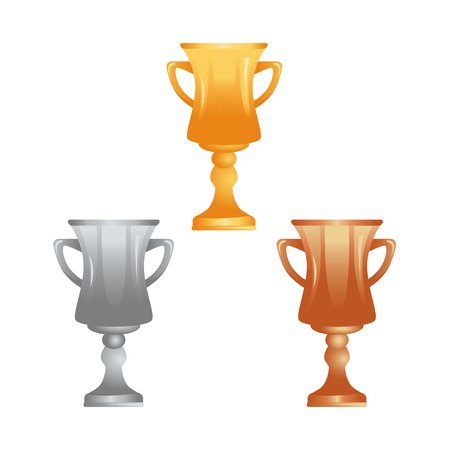 Trophy cups in gold, silver and bronze icons for web and mobile design