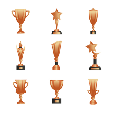 Bronze trophy cups icons set for web and mobile design