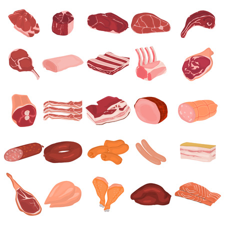 Realistic meat slices and meat products color flat icons set. For web and mobile design