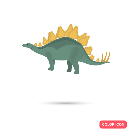 species plate: Stegosaurus color flat icon for web and mobile design