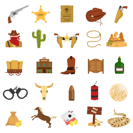 Set of wild west theme color flat icons for web and mobile design