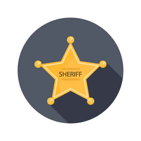 Sheriffs Badge color flat icon for web and mobile design