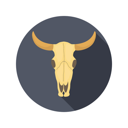 Cow skull color flat icon for web and mobile design Illustration