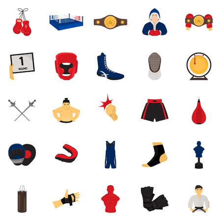 Fighting sports color flat set icons for web and mobile design