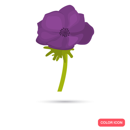 Anemone color flat icon for web and mobile design