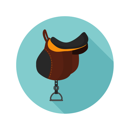 stirrup: Saddle for horse riding color flat icon for web and mobile design