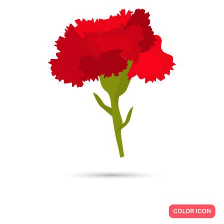 Icono plano color clavel para diseño web y móvil Ilustración de vector