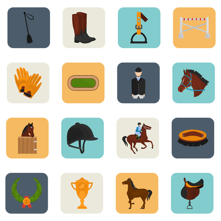 stirrup: Set of horse riding color flat icons for web and mobile design