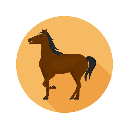 Horse color flat icon for web and mobile design Illustration