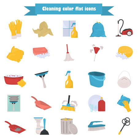 Set of cleaning color flat icons for web and mobile design Illustration