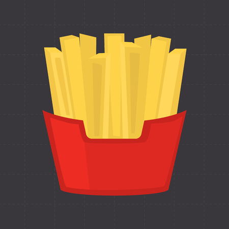 nutritiously: French fries color flat icon for web and mobile design