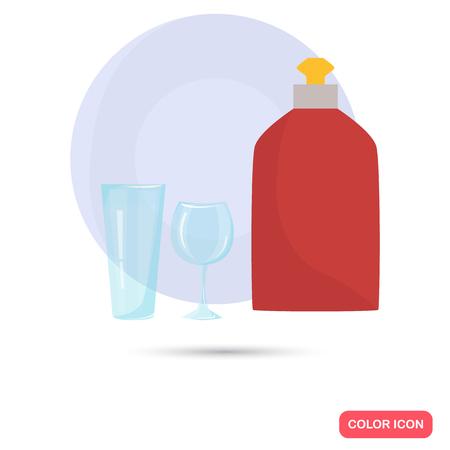 dishwashing liquid: Dishwashing liquid and dinnerware color flat icon for web and mobile design