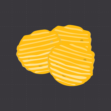 nutritiously: Potato chips color flat icon for web and mobile design