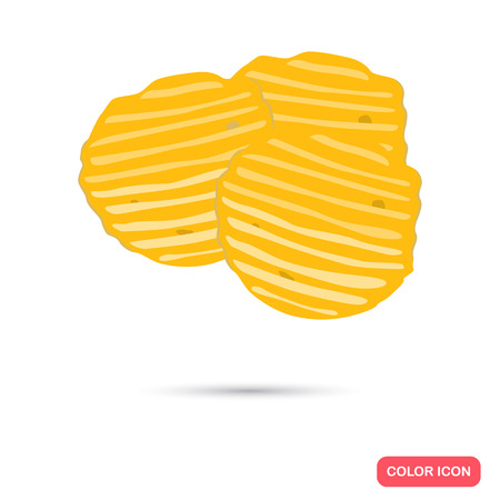 carbohydrate: Potato chips color flat icon for web and mobile design