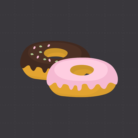 nutritiously: Sweet donuts color flat icon for web and mobile design Illustration