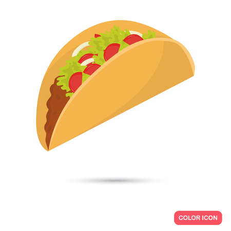 nutritiously: Taco color flat icon for web and mobile design