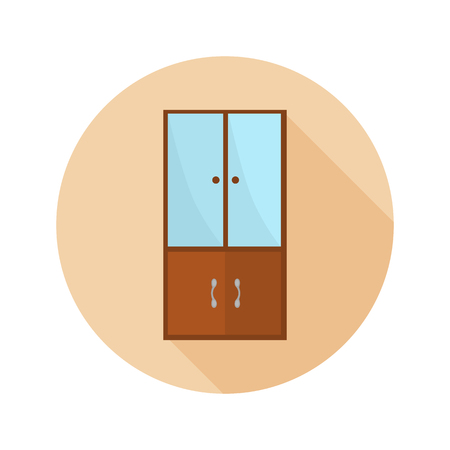 cosy: Wood cupboard color flat icon for web and mobile design