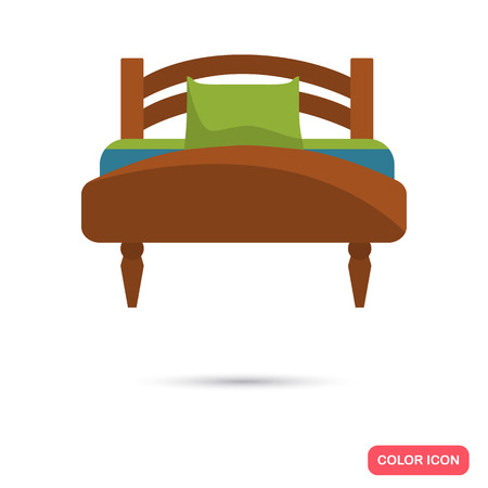 Bed color flat icon for web and mobile design