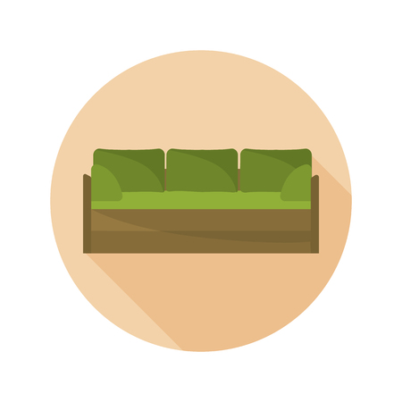 Green couch color flat icon for web and mobile design