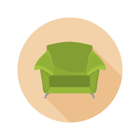 Green chair color flat icon for web and mobile design Illustration