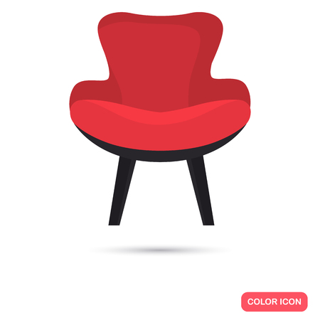 Modern chair color flat icon for web and mobile design Illustration