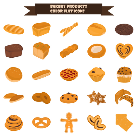 Set of bakery products color flat icon for web and mobile design