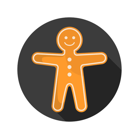 gingerbread: Gingerbread man color flat icon for web and mobile design