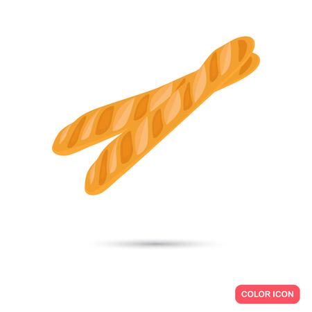 produits céréaliers: Icône plate couleur baguette Français pour le web et le design mobile