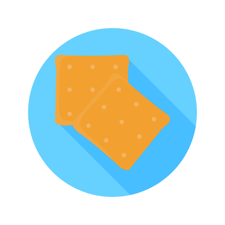 crispy: Cracker cookies color flat icon for web and mobile design