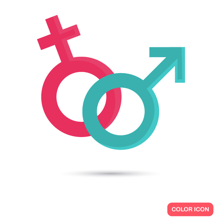 Sign of male and female color flat icon for web and mobile design.