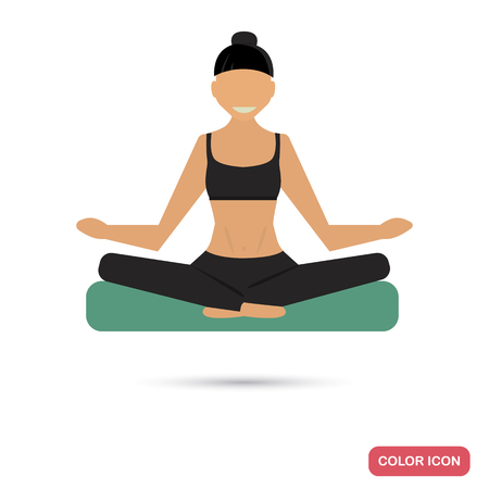 Girl in lotus yoga pose color flat icon for web and mobile design Illustration