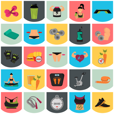 scale icon: Set of sport and fitness color flat icons for web and mobile design Illustration