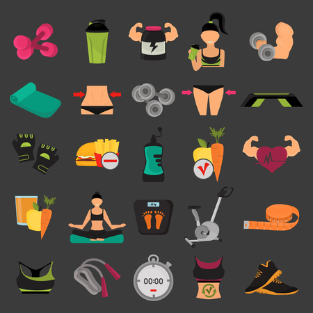 harmful: Set of sport and fitness color flat icons for web and mobile design Illustration