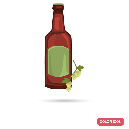 intoxication: Beer and hops color flat icon for web and mobile design