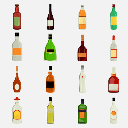 intoxication: Set of alcohol drinks color flat icons for web and mobile design