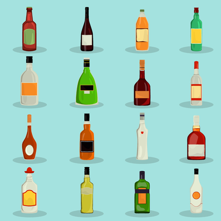 hangover: Set of alcohol drinks color flat icons for web and mobile design