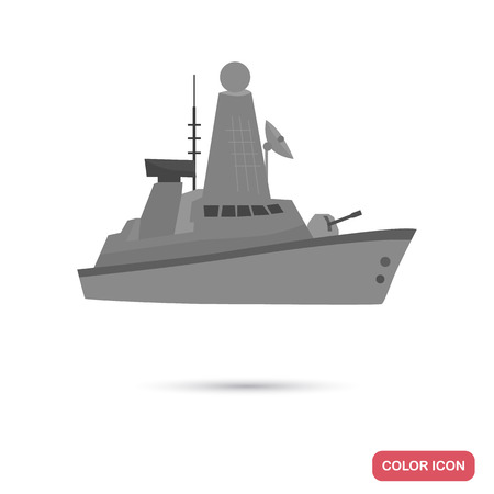 Military ship color flat icon for web and mobile design