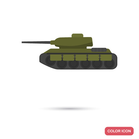 Military tank color flat icon for web and mobile design