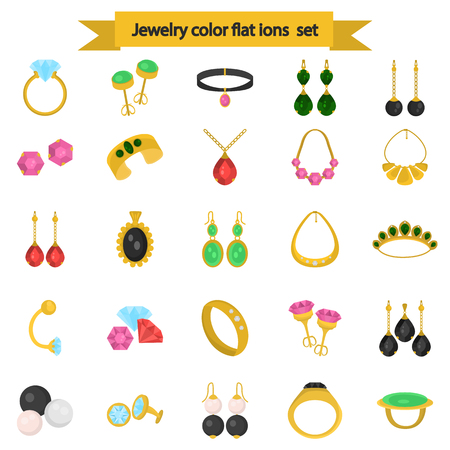 Set of jewelry color icons for web and mobile design