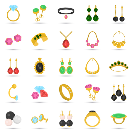 earrings: Set of jewelry color icons for web and mobile design