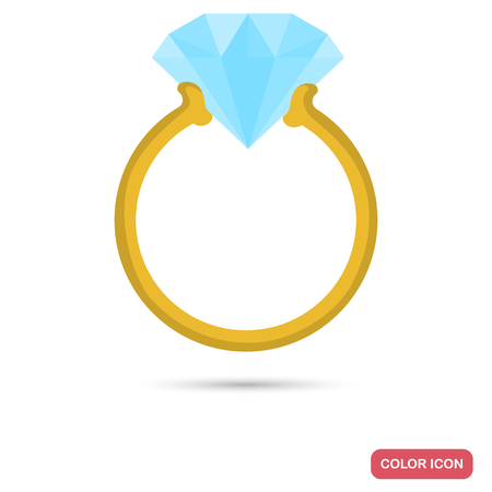 Ring with a diamond color icon for web and mobile design