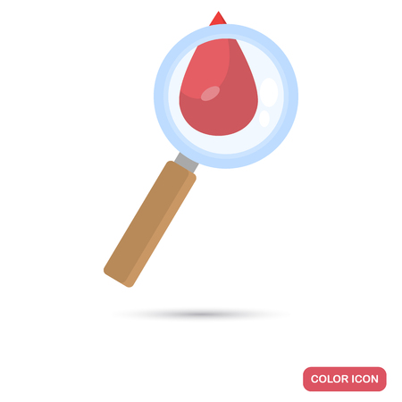 A drop of blood under the magnifying glass color flat icon for web and mobile design