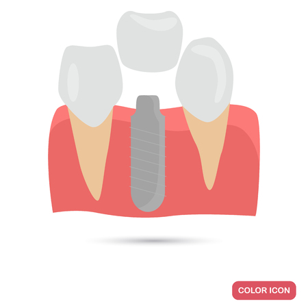 Implantation of teeth color flat icon for web and mobile design Illustration