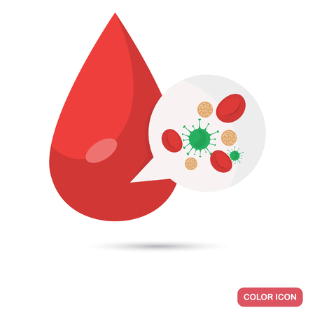 A drop of blood with a virus content color flat icon for web and mobile design