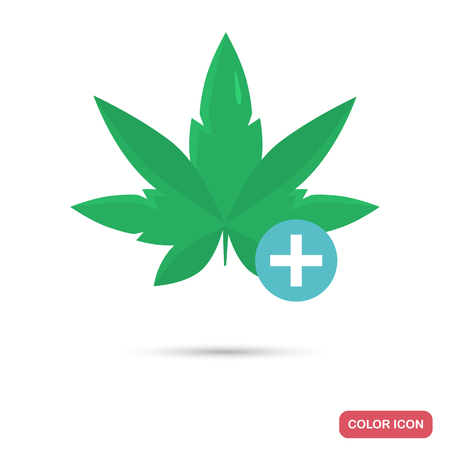 Medical Marijuana color flat icon for web and mobile design Illustration