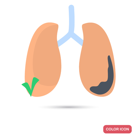 Sick and healthy lung color flat icon for web and mobile design