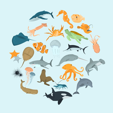 Set of sea animals color flat icons for web and mobile design Illustration