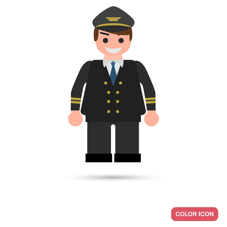 Aircraft pilot color flat icon for web and mobile design