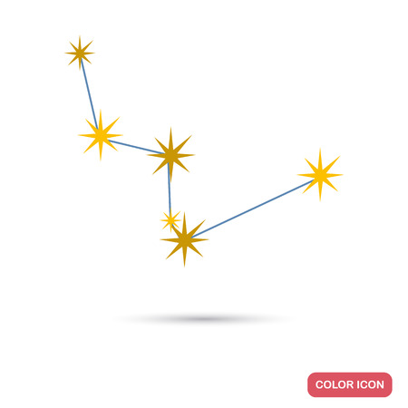 Constellation Cassiopeia color flat icon for web and mobile design