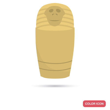 ancient civilization: Egypt ashes urn color flat icon for web and mobile design
